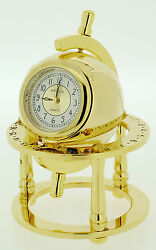 Novelty Solid Brass Library Globe Miniature Clock - Gold Plated - Imp 31