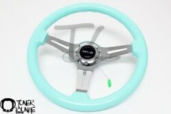 Nrg Steering Wheel 350mm Minty Fresh Wood Grain Chrome Spoke 2 Deep