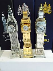 3 X London Big Ben Clock Gold Plated Silver Plated And Plain Crystal With Lights