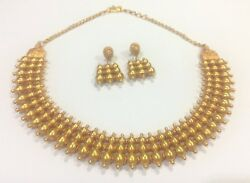 Vintage solid 22k Gold Necklace & Earring pair Set South India
