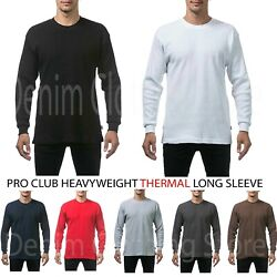 New Proclub Men's Heavyweight Thermal Top Long Sleeve Shirts Waffle Solid S-5xl