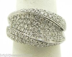 Sparkling 18k White Gold 2.31 Cts Pave Diamond Band Ring