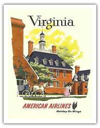 Virginia Colonial Williamsburg Vintage Airline Travel Art Poster Print Giclee