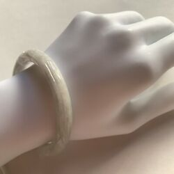 730 Antique Dragon And Pearl Carved Jadite Bangle Ice White Jade Japan C. 1870