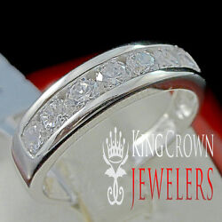 MENS LADIES REAL STERLING SILVER WHITE GOLD FINISH WEDDING ENGAGEMENT RING BAND $49.99