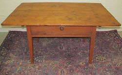 18th C Antique Southern U.s Primitive Queen Anne Tavern Table Salmon Red Paint