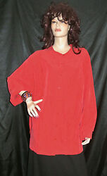NWT CATHERINES SILKY CLASSIC CANDY RED BUTTON DOWN DRESSY SHIRT 3X MSRP $59