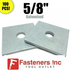 Qty 100 5/8 X 3 X .25 Approx Square Bearing Plate Washer Galvanized