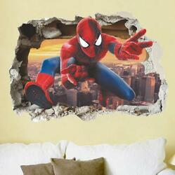 NEW 3D Spiderman Removable Wall Stickers Kids Home Decal room Decor USA
