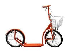 16 Amish Kick Scooter Bright Orange Foot Bike W/ Basket And Brakes Made In Usa