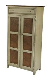 Amish Handmade LARGE 5' PIE SAFE HUTCH with PUNCHED TIN PANELS in Antique Paint
