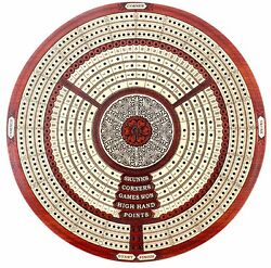 Round Shape 3 Tracks Continuous Cribbage Board In Bloodwood+skunks And Corners 10