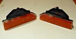 New Pair Front Side Flasher Lamp Turn Lens Assembly Triumph Tr6 1969-1974