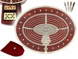 Oval Shape 4 Tracks Continuous Cribbage Board Maple/bloodwood + Skunks And Corners