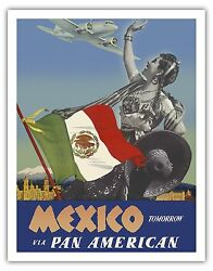 Mexico Tomorrow Flag Girl Vintage Airline Travel Art Poster Print Giclee