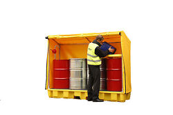 4 Drum In-line Spill Pallet With Framed Cover - Bunded Storage Oil Chemical