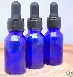 Lot Of 100 Blue 1/2oz Glass Round Bottles With Glass With Droppers 15ml