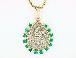 2.80tcw Natural Colombian Emerald And Diamond Vintage Pendant In Yellow Gold 14k