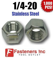 Qty 1000 1/4-20 Stainless Steel Finished Hex Nuts 304 / 18-8 1/4-20