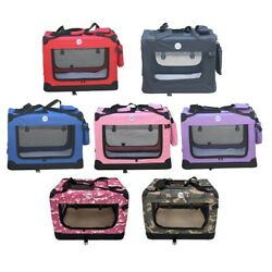 Hugglepets Fabric Dog Crate Puppy Carrier - Cat Travel Cage Carry Pet Bag 4 Size