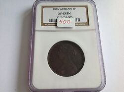 1865 Great Britain Penny Ngc Xf 45 Brown