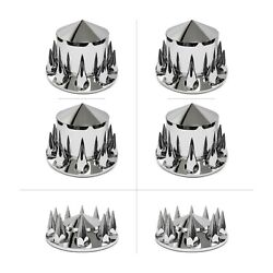 33mm Spiked Chrome Hub And Lug Nut Cover Kit Does 2 Drive Axles And 1 Steer Axle