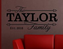 Family Name Personalised Wall Art Quote Decal Sticker Wallpaper Murals Date