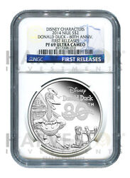 Disney - Silver Donald Duck - Ngc Pf69 Ultra Cameo - First Releases - Donald