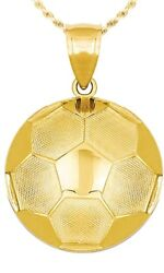 New 14k Yellow Gold Small Soccer Pendant Charm With Necklace