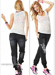Zumba Fitness 2 Piece Set Black Denim Stretch Pants And Burn-out V Tee--rare S M