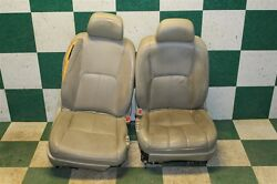 03-06 G35 Tan Leather Driver Passenger Front Bucket Seats Power Tracks Air Bags