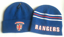 Menand039s Unisex Rangers Football Woolly Beanie Hat Blue Acrylic/polyester One Size