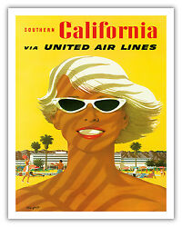 Southern California Girl Stan Galli Vintage Airline Travel Poster Print Giclandeacutee