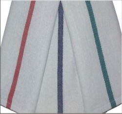 150 new herringbone non terry towels lint free blue stripe 15x26 100% cotton