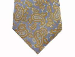 Battisti Tie Light Blue With Yellow Paisley Pattern, 1-button And Pocket, Pure Sil