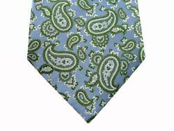 Battisti Tie Light Blue With Green Paisley Pattern, 1-button And Pocket, Pure Silk