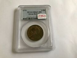 1771 Great Britain 1/2 D Pcgs Ms 63 Red Brown