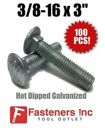 Qty 100 3/8-16 X 3 Carriage Bolt Hot Dipped Galvanized A307