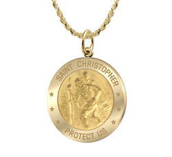 Ladies 7/8in Solid 14k Yellow Gold St Saint Christopher Medal Pendant Necklace