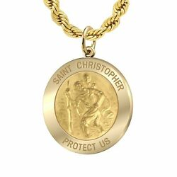 Menand039s 1.0in 14k Yellow Gold Saint Christopher Medal Pendant Necklace 20 To 26