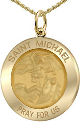 Ladies 3/4in Solid 14k Yellow Gold St Saint Michael Pendant Charm Necklace