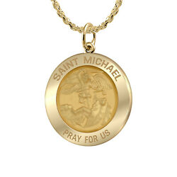 Ladies 0.625in Solid 14k Yellow Gold St Saint Michael Pendant Medal Necklace