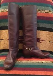 Brown Leather Equestrian Gold Horse Bit Riding Boots 6m Italy Very Rare