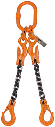 3/8 X 10and039 G100 Adjustable Lifting Chain Sling Double Leg Rigging Industrial
