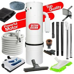 NEW !!! 7500 sq ft Home Central Vacuum 35' Electric Hose Powerhead Kit
