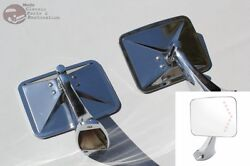 Chrome Custom Truck Led Turn Signal Arrow Door Mount Rearview Square Mirrors New