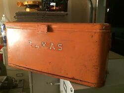 Vintage Metal University Of Texas Thermos Ice Chest Cooler  Rare Collectible