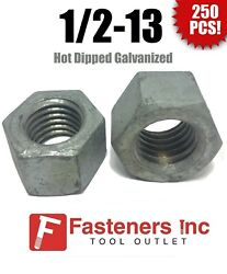 Qty 250 1/2-13 Low Carbon Grade 2 Finished Hex Nuts Hot Dipped Galvanized