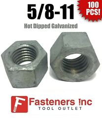 Qty 100 5/8-11 Low Carbon Grade 2 Finished Hex Nuts Hot Dipped Galvanized