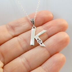 Celtic Knot Letter K Necklace 925 Sterling Silver Initial Pendant Gift Name New